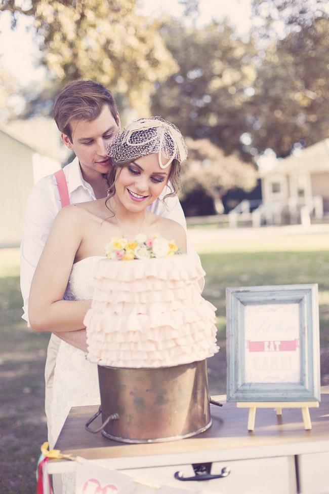 Peach Cream Rustic Country Ruffles & Lace Wedding 56