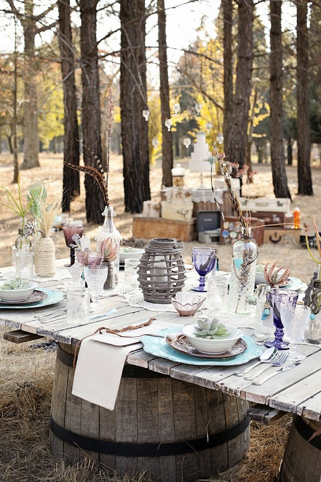Aqua Coral Mauve Earthy Bohemian Forest Wedding 00009