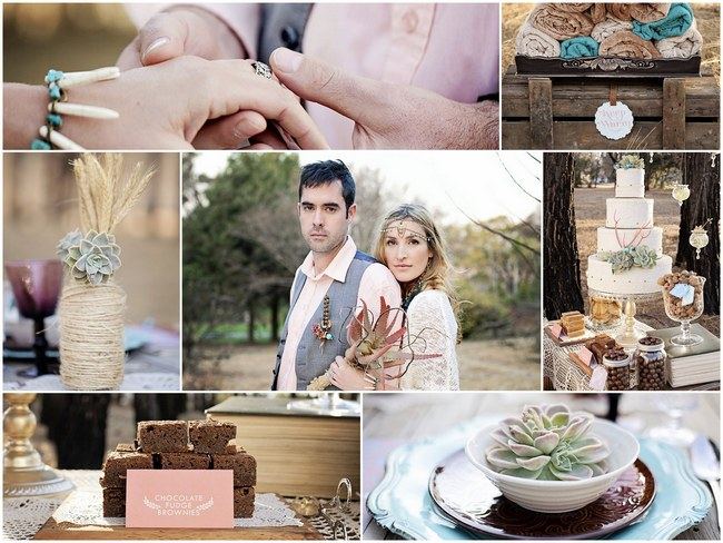 Aqua Coral Mauve Earthy Bohemian Forest Wedding Inspiration on ConfettiDaydreams.com