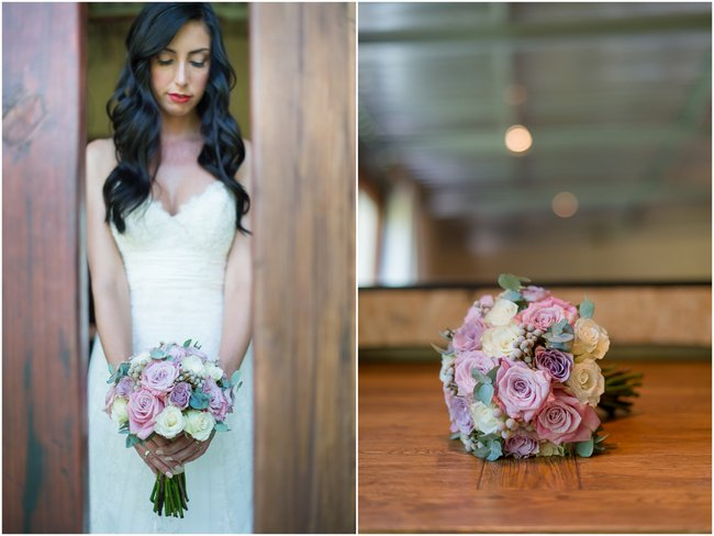 Dusty Pink & Violet Wedding Bouquet | Red Ivory Lodge by Lightburst Photography - ConfettiDaydreams.com