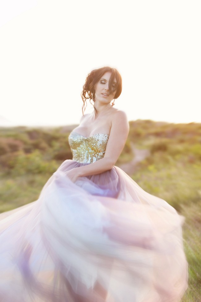 Gold Glitter Sequin and Tulle Wedding Dress 06