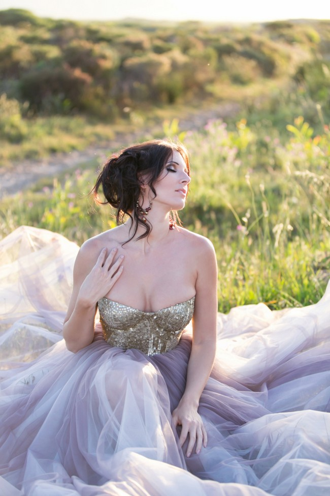 Gold Glitter Sequin and Tulle Wedding Dress 10