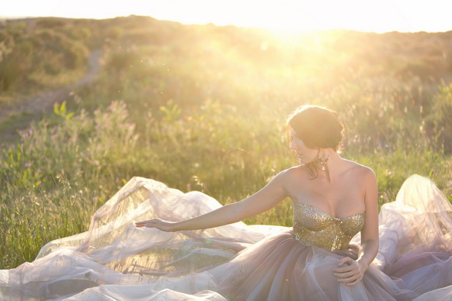 Gold Glitter Sequin and Tulle Wedding Dress 11