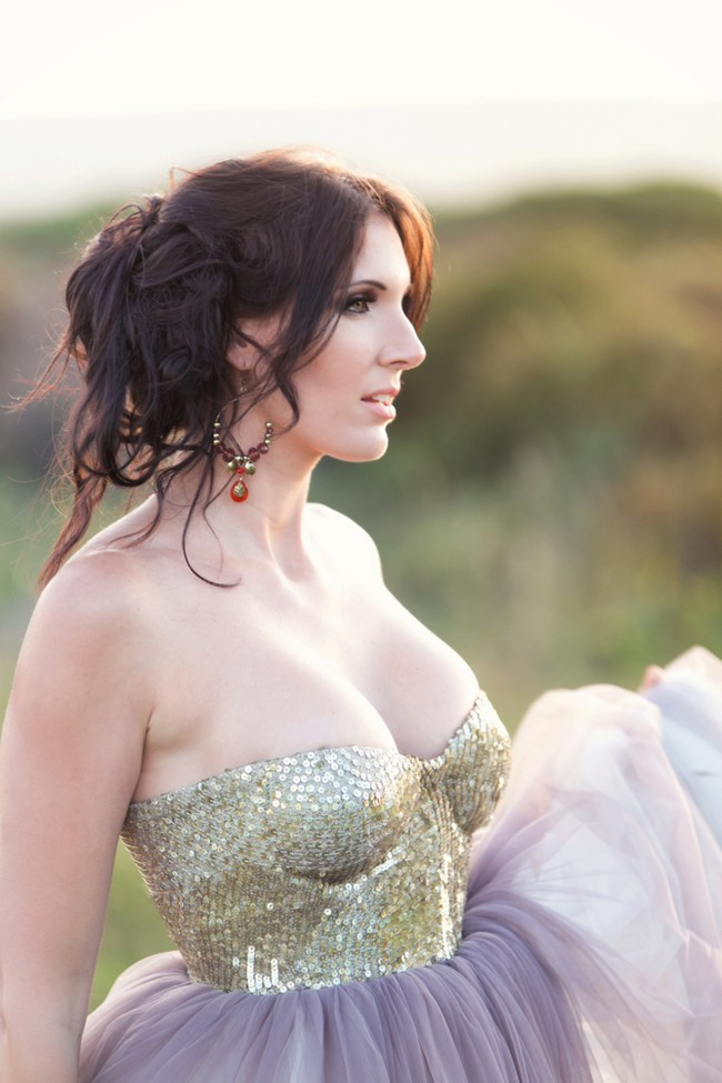Gold Glitter Sequin and Tulle Wedding Dress 16