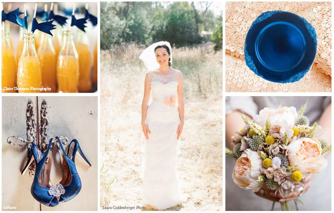 {Inspiration Board} Navy Blue and Peach Vintage Wedding Ideas