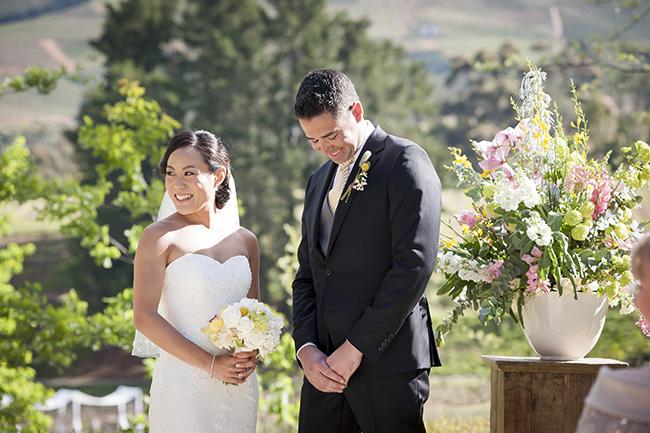 Wedding Ceremony :; Pale Yellow, White & Coral Winelands Destination Wedding (South Africa) :: Joanne Markland Photography :: ConfettiDaydreams.com Wedding Blog