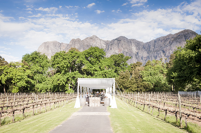 Outdoor Wedding Ceremony :: Pale Yellow, White & Coral Winelands Destination Wedding (South Africa) :: Joanne Markland Photography :: ConfettiDaydreams.com Wedding Blog
