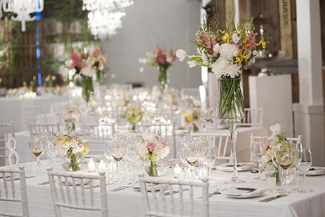 Wedding Reception Decor Ideas and Tablescape :: Molenvliet :: Pale Yellow, White & Coral Winelands Destination Wedding (South Africa) :: Joanne Markland Photography :: ConfettiDaydreams.com Wedding Blog