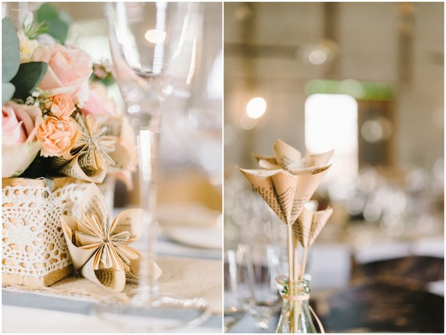 Paper Flower Wedding Reception Decor :: Pretty paper Flower, Rustic Blush Farm Wedding :: South Africa :: Louise Vorster Photography :: Seen on ConfettiDaydreams.com
