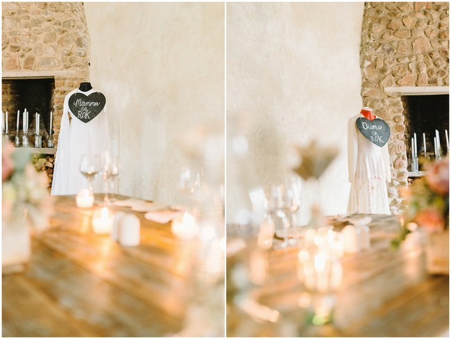 Using Mom and Gran's Dress in Wedding Reception Decor :: Pretty paper Flower, Rustic Blush Farm Wedding :: South Africa :: Louise Vorster Photography :: Seen on ConfettiDaydreams.com