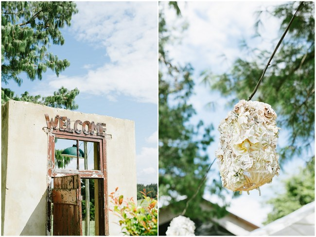 Wedding Ceremony :: Pretty paper Flower, Rustic Blush Farm Wedding :: South Africa :: Louise Vorster Photography :: Seen on ConfettiDaydreams.com