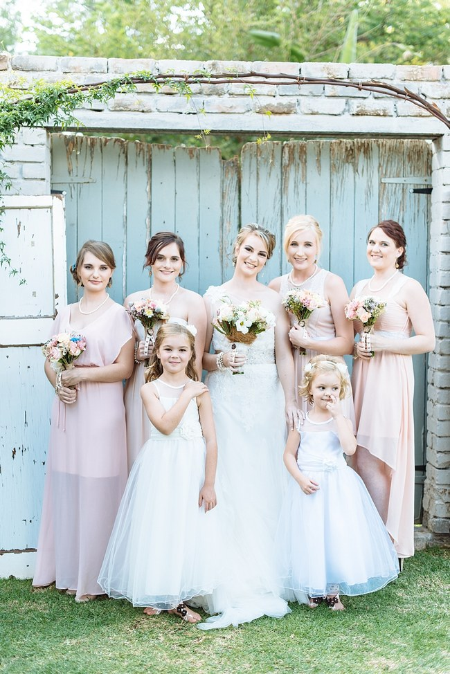 Blush Bridesmaids Dresses  :: Pretty paper Flower, Rustic Blush Farm Wedding :: South Africa :: Louise Vorster Photography :: Seen on ConfettiDaydreams.com