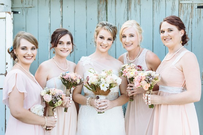 Romantic Blush & Grey Vintage Farm Wedding with 800 Paper Flowers! {Louise Vorster Photography}