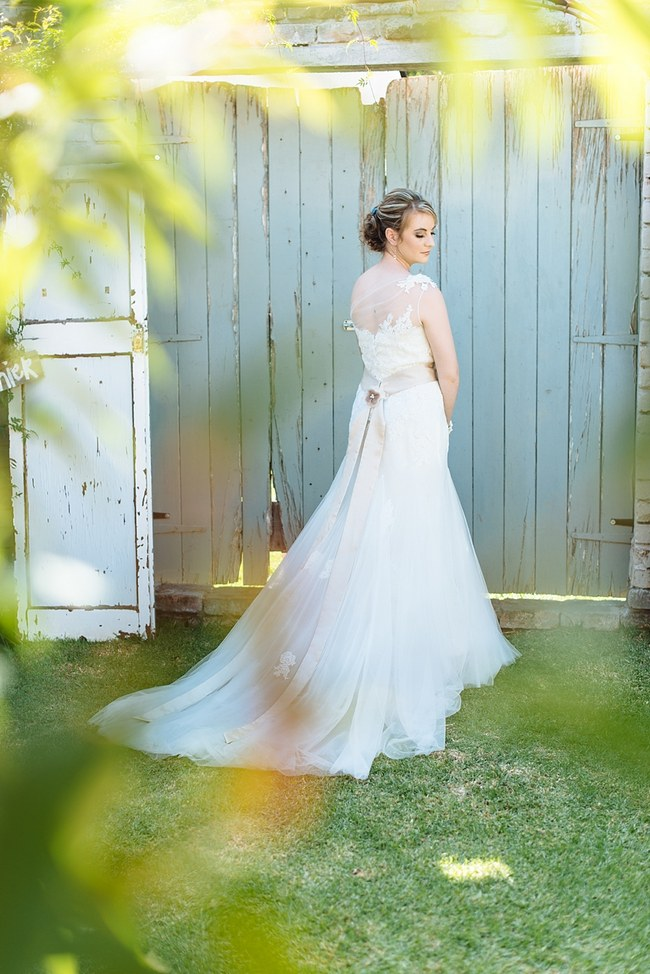 One Shoulder Wedding Dress  :: Pretty paper Flower, Rustic Blush Farm Wedding :: South Africa :: Louise Vorster Photography :: Seen on ConfettiDaydreams.com