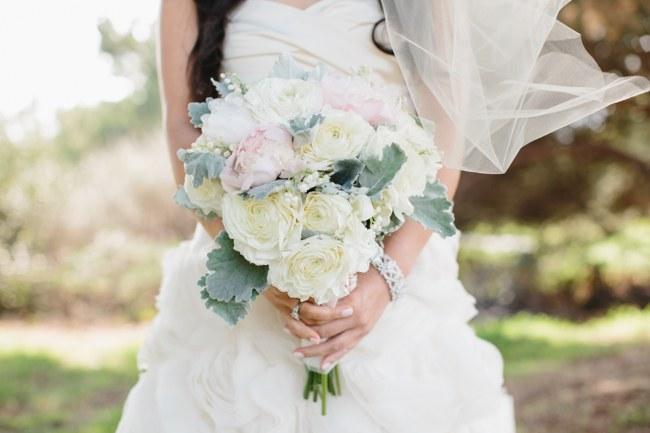 Bouquet | Dreamy Blush Pink Grey California Wedding | Marianne Wilson Photography via ConfettiDaydreams.com