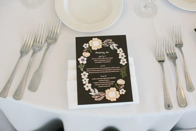 Printed Wedding Reception Decor| Dreamy Blush Pink Grey California Wedding | Marianne Wilson Photography via ConfettiDaydreams.com