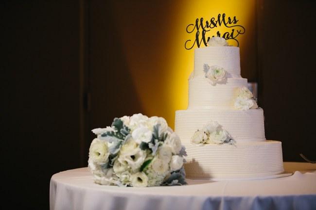 Cake & Wedding Reception Decor| Dreamy Blush Pink Grey California Wedding | Marianne Wilson Photography via ConfettiDaydreams.com