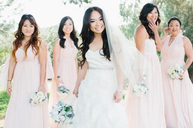 Bridesmaids | Dreamy Blush Pink Grey California Wedding | Marianne Wilson Photography via ConfettiDaydreams.com