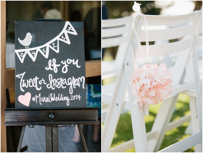 Instagram Sign - Outdoor Wedding Ceremony | Dreamy Blush Pink Grey California Wedding | Marianne Wilson Photography via ConfettiDaydreams.com