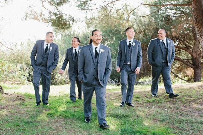 Groomsmen | Dreamy Blush Pink Grey California Wedding | Marianne Wilson Photography via ConfettiDaydreams.com