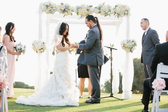 Outdoor Wedding Ceremony | Dreamy Blush Pink Grey California Wedding | Marianne Wilson Photography via ConfettiDaydreams.com
