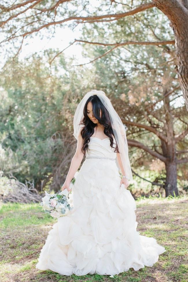 Vera Wang Gown | Dreamy Blush Pink Grey California Wedding | Marianne Wilson Photography via ConfettiDaydreams.com