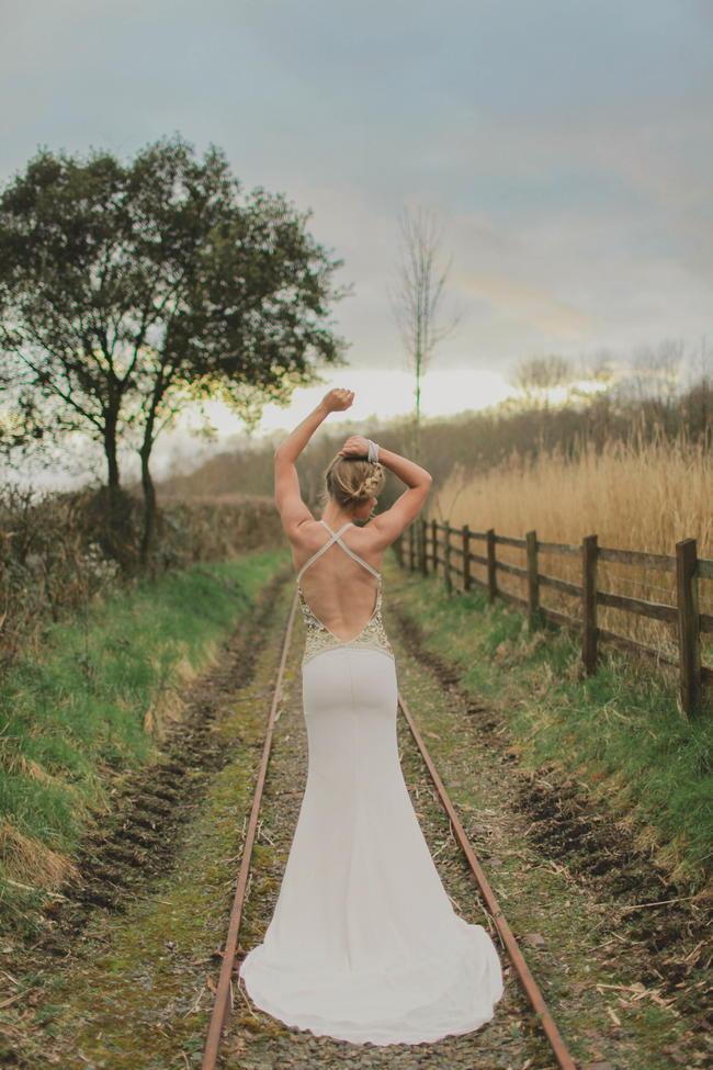 Backless Wedding Dress // Bohemian Luxe - Boho Bride - Gibson Bespoke // Kirsty-Lyn Jameson Photography