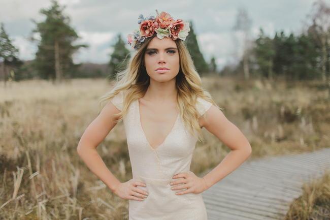 Floral Headpiece // Bohemian Luxe - Boho Bride - Gibson Bespoke // Kirsty-Lyn Jameson Photography