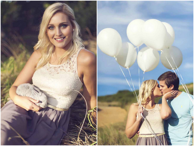Bunnies and Balloons: A Fun, Furry Engagement Shoot {Claire Thomson Photography}