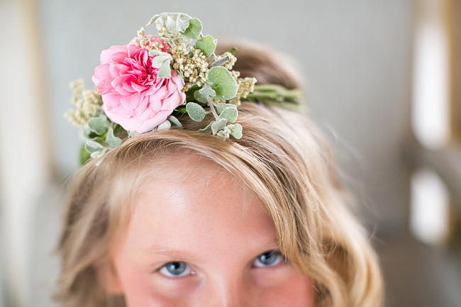 Flower Girl Floral Wreath / Totally Gorgeous Glitter Blush Pink Gold South African Wedding / Adene Photography /