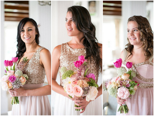 Gold Sequin and Blush mismatched bridesmaids dresses / Totally Gorgeous Glitter Blush Pink Gold South African Wedding / Adene Photography /