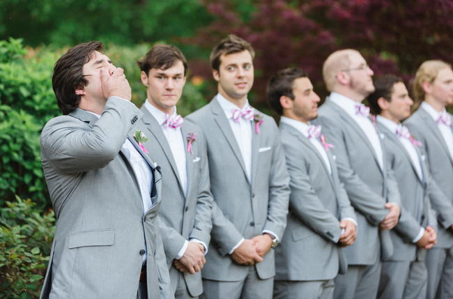 Groom and groomsmen // Old Southern Charm Garden Wedding in Pink and Gray // JoPhoto