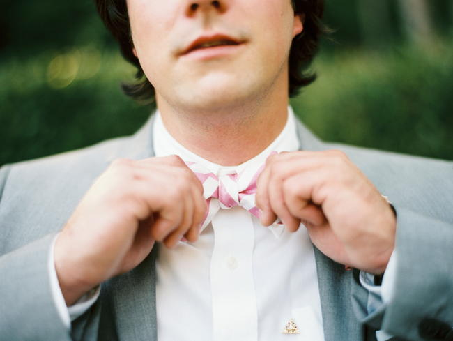 Groom Bowtie // Old Southern Charm Garden Wedding in Pink and Gray // JoPhoto