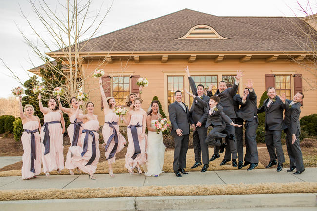 Bridal Party Wedding Photo Idea // Rustic Country Wedding in Blush Navy // Meet The Burks Photography