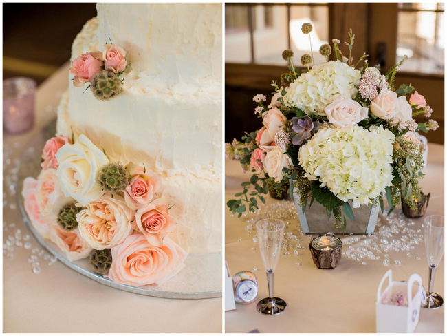 White cake with peach flowers and succulents // Rustic Country Wedding in Blush Navy // Meet The Burks Photography