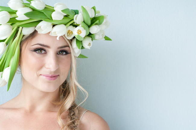 White Tulip Flower Crown by Fleur le Cordeur / ST Photography / / Hair by Licia Van der Merwe / Lisa Brown Make Up /