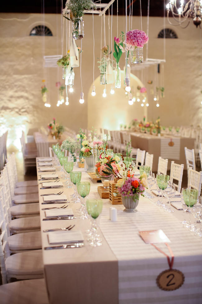Hanging Floral Decor & Tablescape //  Reception Decor // Colourful Nooitgedacht Wedding on a rainy South African day  // Nikki Meyer photography