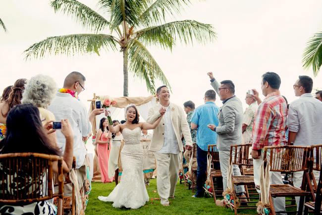 Maui Beach Wedding Ceremony // Rustic Coral & Mint Destination Beach Wedding // BellaEva Photography