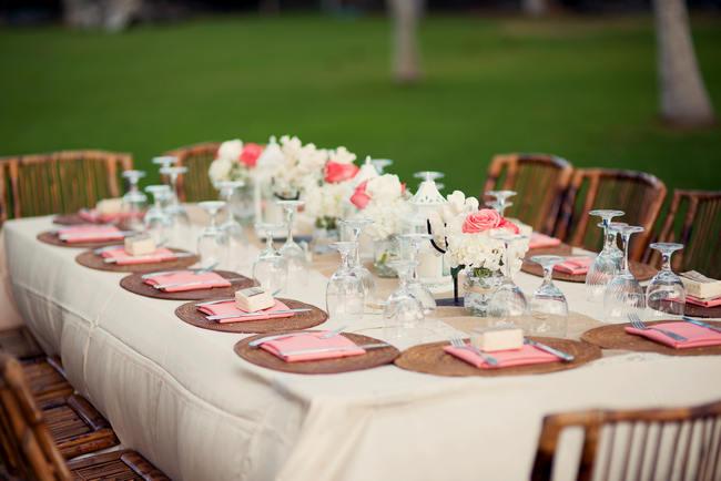 Tablescap // Rustic Coral & Mint Destination Beach Wedding Reception // BellaEva Photography