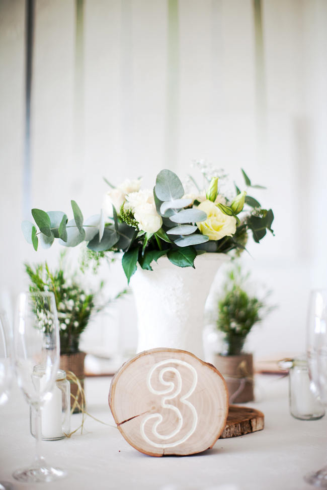 Wood Slab Table Numbers // Organic Grey and Green Wedding Reception Decor at Silvermist, Cape Town // Moira West Photography
