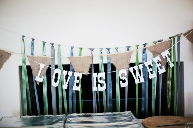 Love is Sweet Bunting Sign // Organic Grey and Green Wedding Reception Decor at Silvermist, Cape Town // Moira West Photography