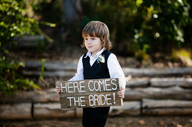 Here Comes The Bride Wooden Sign // Outdoor Mountain Wedding Ceremony at Silvermist, Cape Town // Moira West Photography