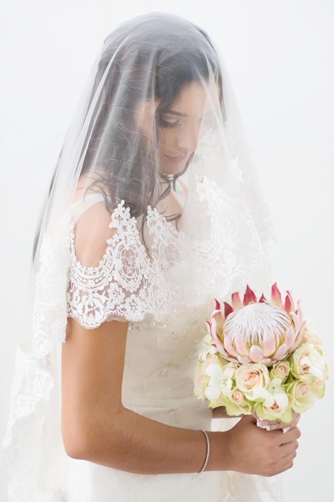 Bridal Portrait with Veil // Pink and Grey Lace Filled South African Wedding // Stella Uys Photography