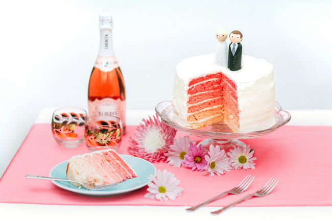 Ombre rainbow cake // Cute Pink and White Retro, Sixties- Inspired Wedding Ideas // Ping Photography