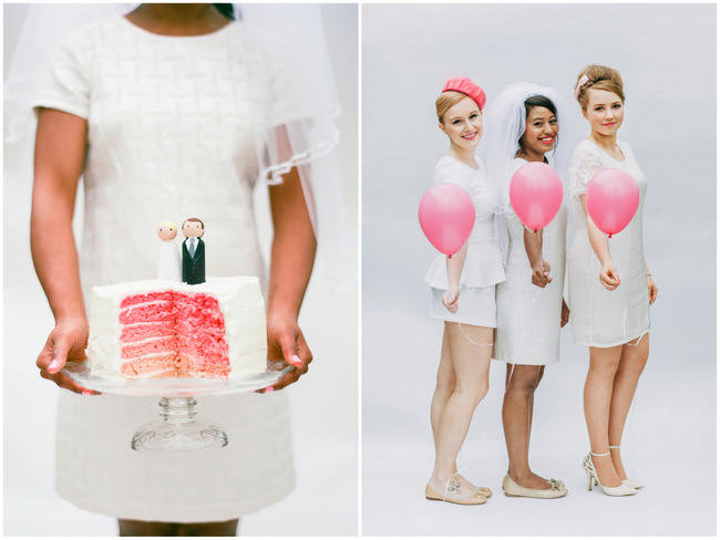 Pink Ombre Cake // Cute Pink and White Retro, Sixties- Inspired Wedding Ideas // Ping Photography
