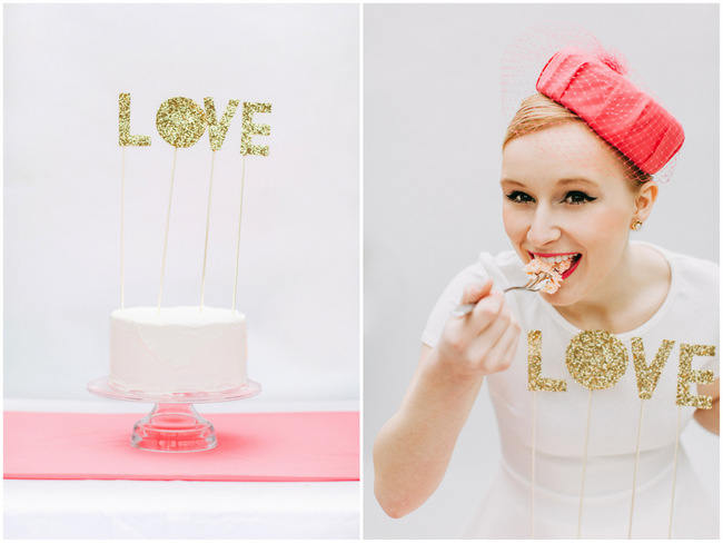 Glitter LOVE Cake Topper // Cute Pink and White Retro, Sixties- Inspired Wedding Ideas // Ping Photography