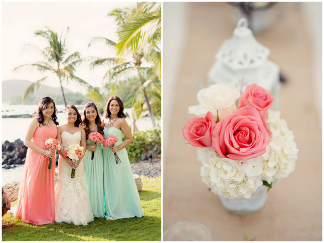 Romantic, Rustic Coral & Seafoam Green Beach Wedding {BellaEva Photography}