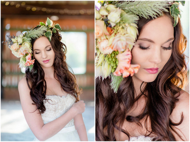 Peach and green Autumn asymmetrical floral wreath flower crown// Rustic Fall Wedding Ideas // Lightburst Photography // Flowers: Dear Love Events