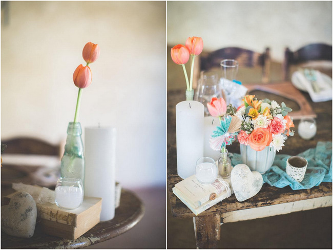 // Wedding Decor Ideas // Delightfully Handmade DIY Teal Turquoise Peach Vintage South African Wedding // Genevieve Fundaro Photography