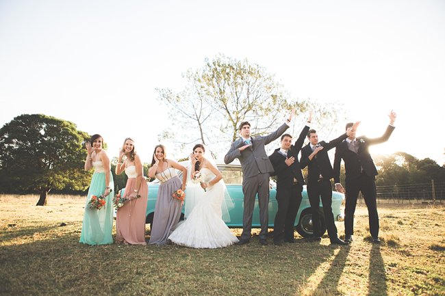 Wedding Party Photographs // Delightfully Handmade DIY Teal Turquoise Peach Vintage South African Wedding // Genevieve Fundaro Photography